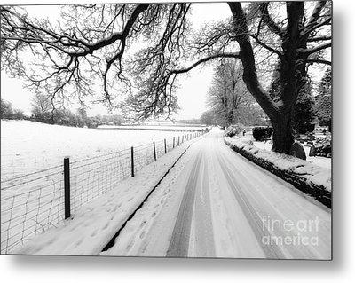 Snowy Lane Metal Print by Adrian Evans