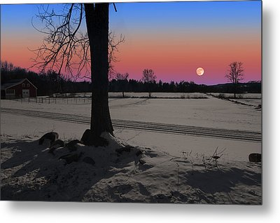 Metal Print featuring the photograph Snowy Moonrise by Larry Landolfi