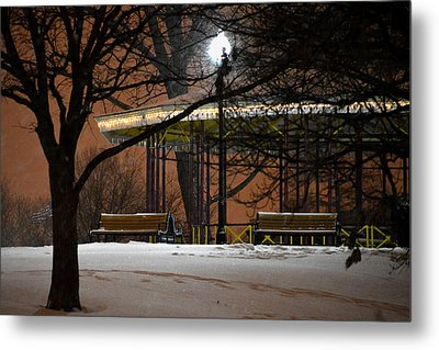 Metal Print featuring the photograph Snowy Night In Leone Riverside Park by Bill Swartwout