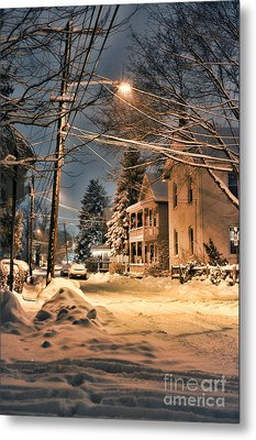 snowy night in Northampton Metal Print