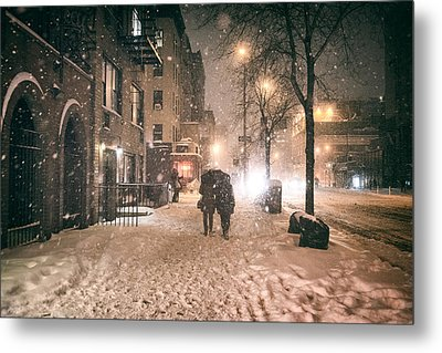 Snowy Night - Winter In New York City Metal Print by Vivienne Gucwa