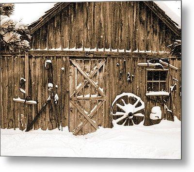 Snowy Old Barn Metal Print