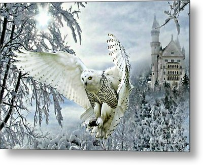 Metal Print featuring the mixed media Snowy Owl by Morag Bates