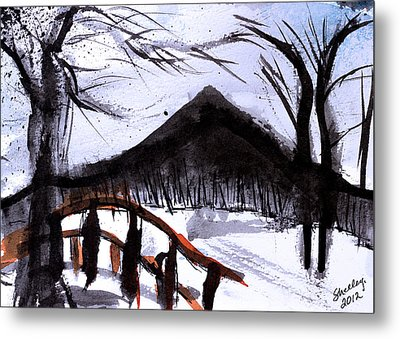 Snowy Path Metal Print by Shelley Bain