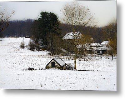 Snowy Pennsylvania Farm Metal Print by Bill Cannon