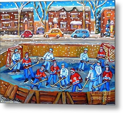 Snowy Rink Hockey Game Montreal Memories Winter Street Scene Painting Carole Spandau Metal Print by Carole Spandau