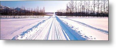 Snowy Road Hokkaido Shari-cho Japan Metal Print by Panoramic Images