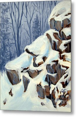 Snowy Rocks Metal Print