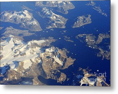 Snowy Rocky Islands And Floating Icebergs On Ocean Metal Print