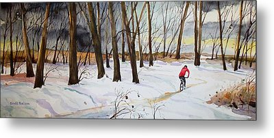 Snowy Single Track  Metal Print