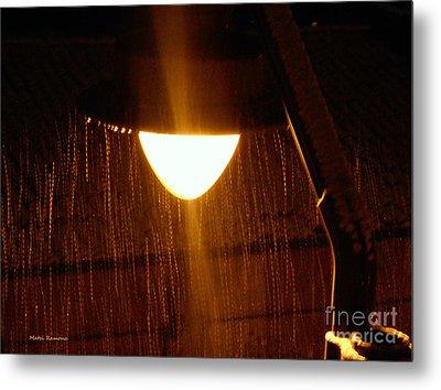 Snowy Street Lamp Metal Print by Ramona Matei