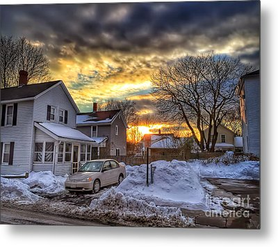 Snowy Sunset Metal Print