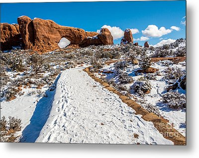 Snowy Trail To The North Window Metal Print