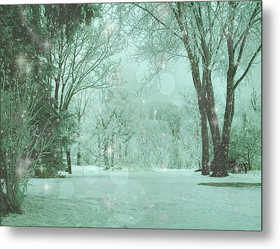 Snowy Winter Night Metal Print by Mary Wolf