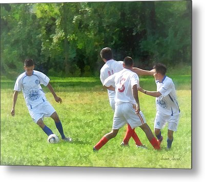 Soccer Ball In Play Metal Print by Susan Savad