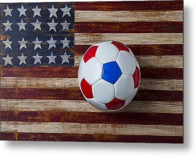 Soccer Ball On American Flag Metal Print by Garry Gay