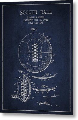Soccer Ball Patent From 1928 Metal Print by Aged Pixel