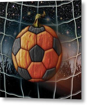 Soccer Ball Pumpkin Metal Print by James Larkin