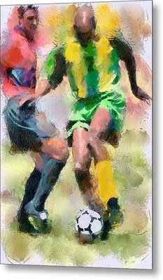 Soccer Fight Metal Print by Yury Malkov