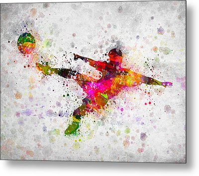 Soccer Player - Flying Kick Metal Print by Aged Pixel