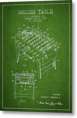 Soccer Table Game Patent From 1975 - Green Metal Print by Aged Pixel