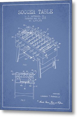 Soccer Table Game Patent From 1975 - Light Blue Metal Print by Aged Pixel