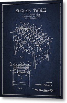 Soccer Table Game Patent From 1975 - Navy Blue Metal Print by Aged Pixel