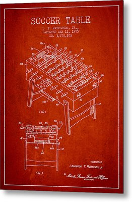 Soccer Table Game Patent From 1975 - Red Metal Print by Aged Pixel