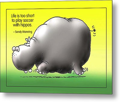 Soccer With Hippos Metal Print by Mike Flynn