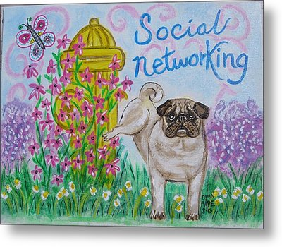 Social Networking Pug Metal Print