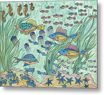 Society Of Fish Metal Print