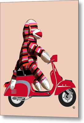 Sock Monkey And Moped Metal Print by Kelly McLaughlan