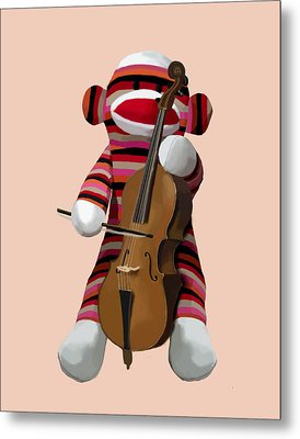 Sock Monkey With Cello Metal Print by Kelly McLaughlan