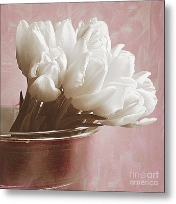 Soft Pink And White Metal Print
