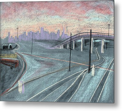 Soft Sunset Over San Francisco And Oakland Train Tracks Metal Print by Asha Carolyn Young