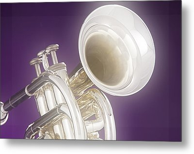 Soft Trumpet On Purple Metal Print by M K  Miller