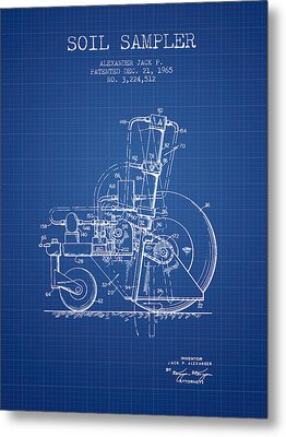 Soil Sampler Machine Patent From 1965 - Blueprint Metal Print by Aged Pixel