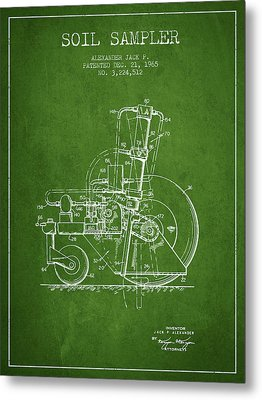 Soil Sampler Machine Patent From 1965 - Green Metal Print by Aged Pixel