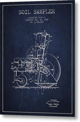 Soil Sampler Machine Patent From 1965 - Navy Blue Metal Print by Aged Pixel