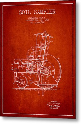 Soil Sampler Machine Patent From 1965 - Red Metal Print by Aged Pixel