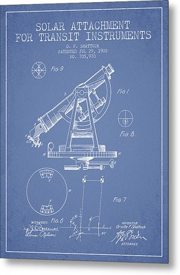 Solar Attachement For Transit Instruments Patent From 1902 - Lig Metal Print