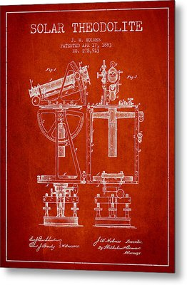 Solar Theodolite Patent From 1883 - Red Metal Print