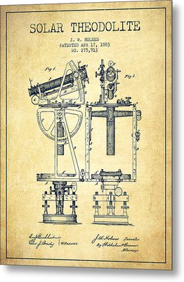 Solar Theodolite Patent From 1883 - Vintage Metal Print