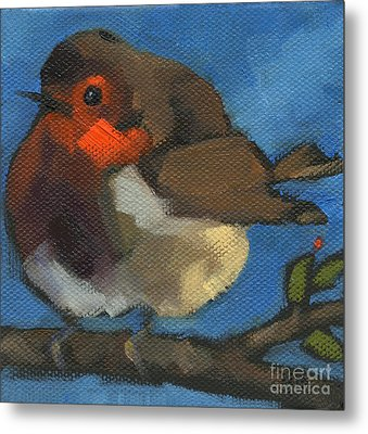 Metal Print featuring the painting Sold - Rock'n Baby Robin by Nancy  Parsons
