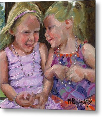 Metal Print featuring the painting Sold Silly Sister Secrets by Nancy  Parsons