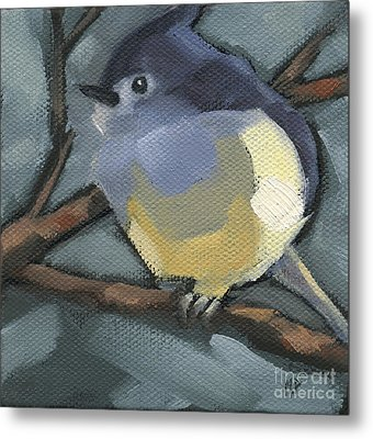 Metal Print featuring the painting Sold Titmouse Camo by Nancy  Parsons