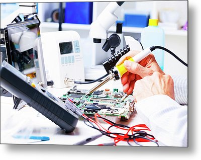 Soldering Equipment And Circuit Board Metal Print by Wladimir Bulgar