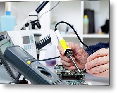 Soldering Equipment And Electronic Parts Metal Print by Wladimir Bulgar