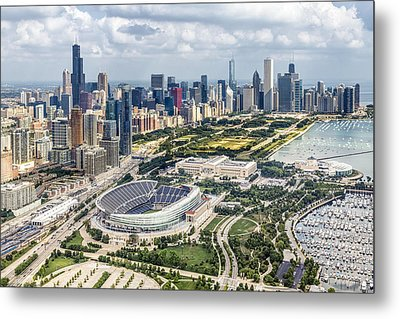 Soldier Field And Chicago Skyline Metal Print by Adam Romanowicz