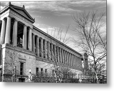 Soldier Field In Black And White Metal Print